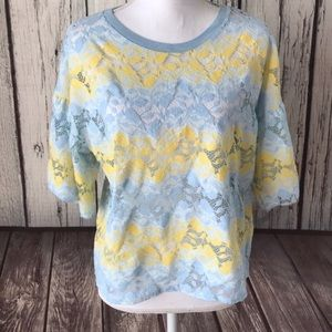 Zara blue and yellow lace Top size large